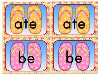 Flip Flop Sight Word Memory Game: Dolch Primer Sight Words (52 Words)