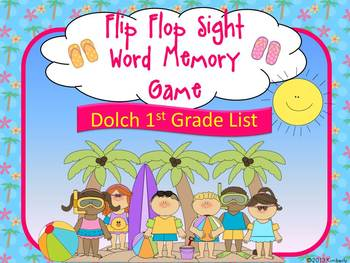 Flip Flop Sight Word Memory Game:Dolch Grade 1 Sight Words