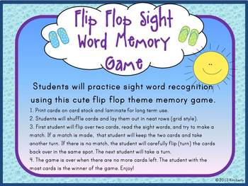 Flip Flop Sight Word Memory Game:Dolch Grade 2 Sight Words (46 Words)