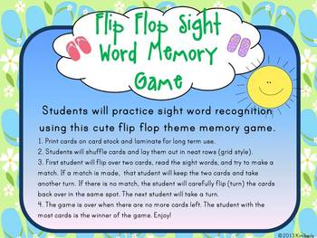 Flip Flop Sight Word Memory Game:Dolch Pre-Primer Sight Words (40 Words)