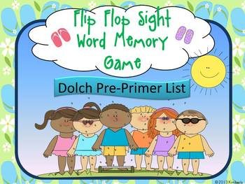 Flip Flop Sight Word Memory Game:Dolch Pre-Primer Sight Wo