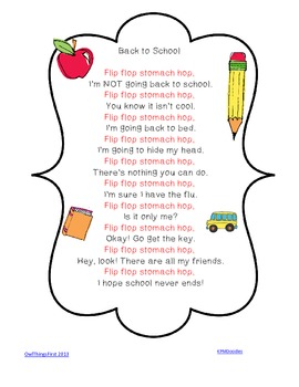 Flip Flop Stomach Hop Poem for Back to School!