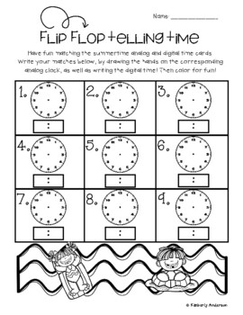 Flip Flop/ Summertime: Telling Time Match (to the 5 Minutes)