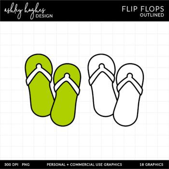 Flip Flops Clipart {A Hughes Design}