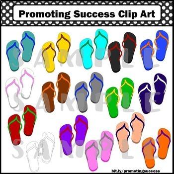 Flip Flops Clip Art, Summer Clipart, Beach Clip Art, Sandals
