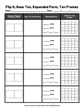 Flip It, Base Ten, Expanded Form, Ten Frames: A Domino Activity