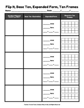 Flip It, Base Ten, Expanded Form, Ten Frames: A Domino Activity