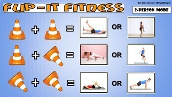 Flip-It Fitness! - Google Slides version with Animated GIFs - 2 and 3-person PE