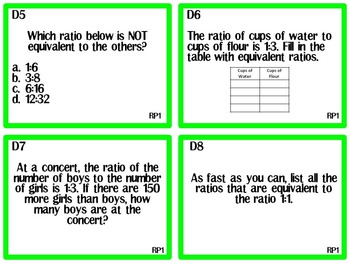 Flip It!- Ratios- Set 1 6th grade Common Core RP.1-2