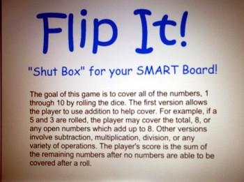 Flip It!  Shut Box for Your SMART Board