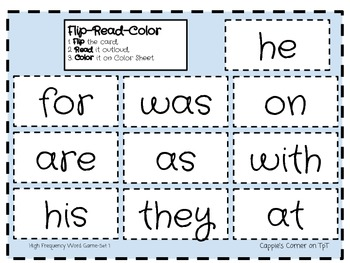 Flip Read Color-High Frequency Words Set 1