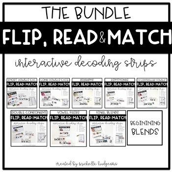 Flip, Read, and Match Decoding Strips | Growing Bundle Phonics Activities