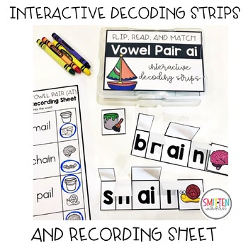 Flip, Read, and Match Decoding Strips | Vowel Pairs Teams Phonics Activities