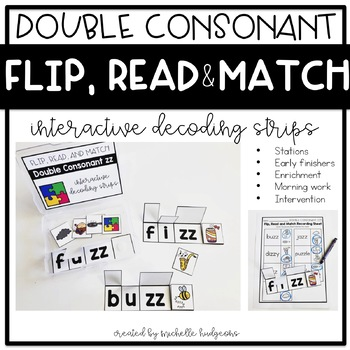 Flip, Read, and Match Decoding Strips | Double Consonant Phonics Activities
