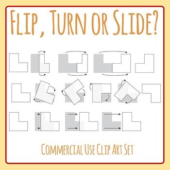 Flip, Turn or Slide - Translations / Transitions / Changes / Rotations Geometry
