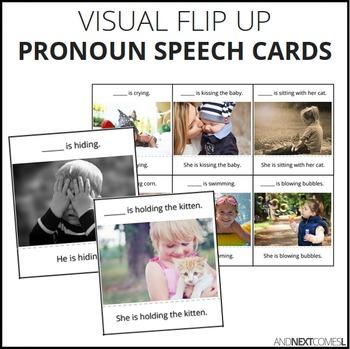 Flip Up Pronoun Cards for Speech Practice