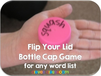 Flip Your Lid Bottle Cap Center Game for any Word List