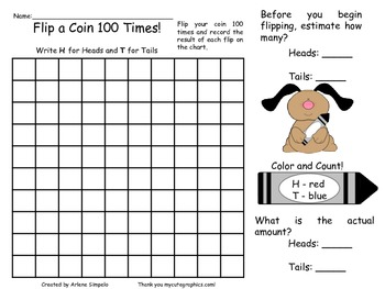 Flip a Coin 100 Times for the 100th Day of School Estimation Activity