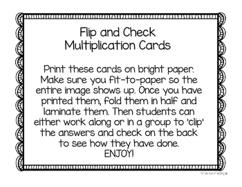 Flip and Check Multiplication Cards x4-x9 only