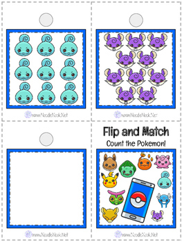 Flip and Match Cards: Pokemon Go for Counting Numbers 0-10