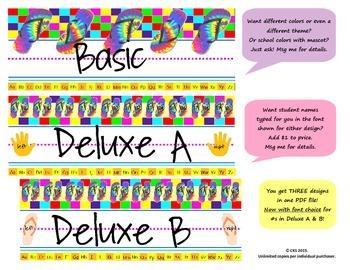 Flip flop desk name tags {new tye dye theme - 3 designs in 1 PDF file!}