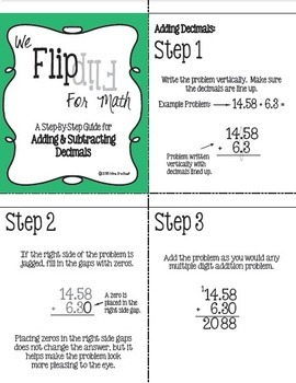 Flip for Math:  Step-By Step, Flip Book for Adding and Subtracting Decimals