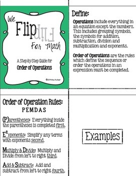 Flip for Math:  Step-By Step, Flip Book for Order of Operations PLUS Flow Chart