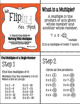 Flip for Math:  Step-By Step, Multiples and Finding Least Common Multiple