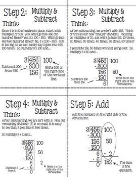 Flip for Math:  Step-by-Step, Flip Book Dividing Using Partial Quotient Method