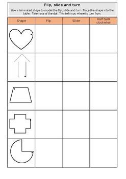 Flip, slide and turn shapes