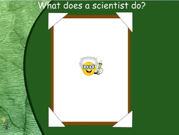 "Flipchart beginning a ""What does a scientist do"" unit"