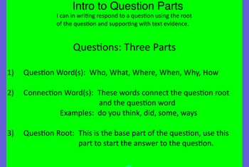 Flipchart teaching and practicing short answer and extended response