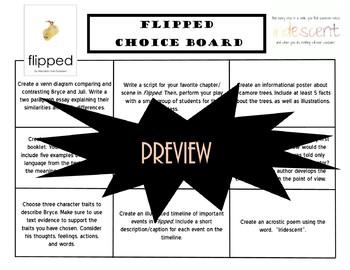 Flipped Choice Board Novel Study Activities Menu Book Project Tic Tac Toe