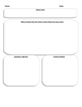 Flipped Classroom Note Taking Sheet