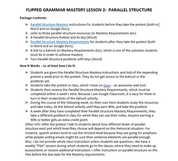 Flipped Grammar Mastery Lesson 2:  Parallel Structure
