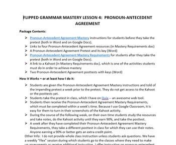 Flipped Grammar Mastery Lesson 4:  Pronoun-Antecedent Agreement