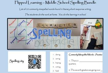 Middle School Spelling; 20 words; Bundle; Printables; PowerPoint, task cards