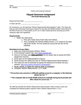 Flipped Classroom Lesson Assignment- Kitchen Measurement for use with YouTube