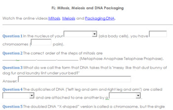 Flipped Lesson: Mitosis, Meiosis and DNA Packaging