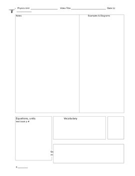 Flipped Physics Classroom Notes Template