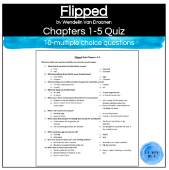 Flipped by Wendelin Van Draanen Chapters 1-5 Multiple Choice Quiz Worksheet
