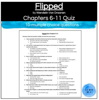 Flipped by Wendelin Van Draanen Chapters 6-11 Multiple-Choice Quiz/Worksheet