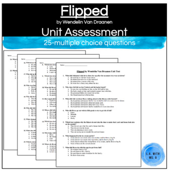Flipped by Wendelin Van Draanen Unit Test (25 Multiple-Choice Questions)