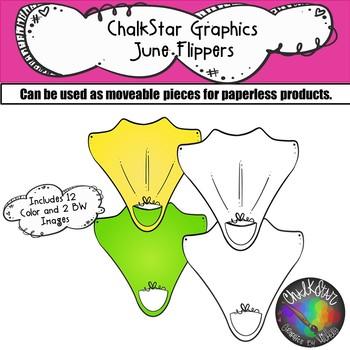 Flippers June Clip Art –Chalkstar Graphics