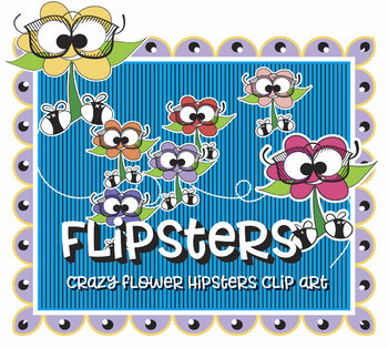"""Flipsters! Hipster Flower Clip Art Characters, High Resolution, Vector & PNG, 8"""""""