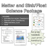 Float & Sink / Matter Notes, Review Notes and Tests/Quizzes