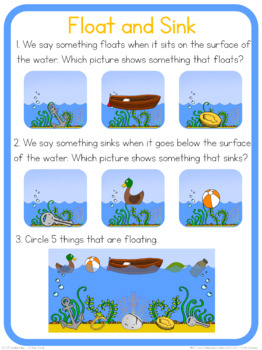 Float and Sink circle time questions