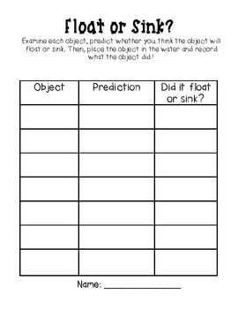 float or sink record sheet graphic organizer by kristen brooks dankovich. Black Bedroom Furniture Sets. Home Design Ideas