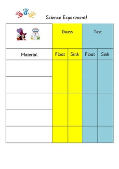 Floating and Sinking Experiment Sheet
