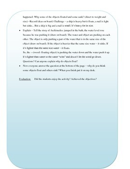 Floating and Sinking Science Unit Plan and worksheets